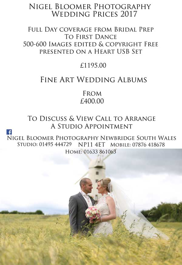 Wedding Package Prices - Nigel Bloomer Photography